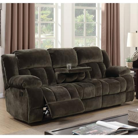 Furniture of America Ric Transitional Brown Fabric Reclining Sofa