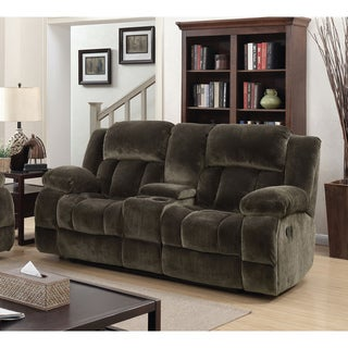Furniture of America Ric Contemporary Brown Fabric Reclining Loveseat