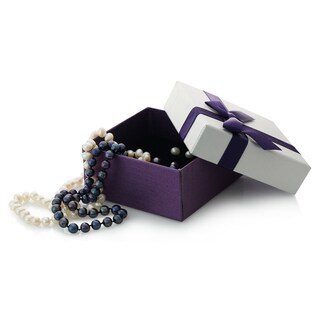 Pearlyta Sterling Silver Boxed Set with Black and White Necklace and Earring Set