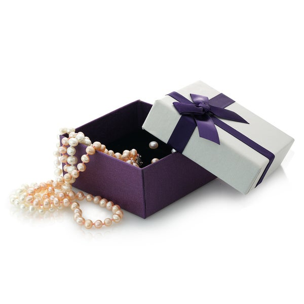 Pearlyta Sterling Silver Boxed Set with Pink and White Necklace and Earring Set