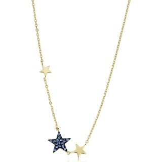 Yellow Gold Over Sterling Silver Sapphire Nano Glass Star Necklace