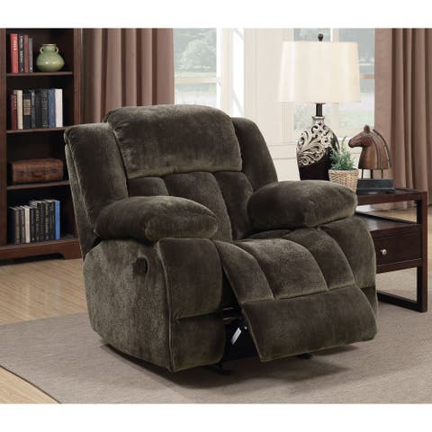 Furniture of America Ric Transitional Brown Fabric Glider Recliner