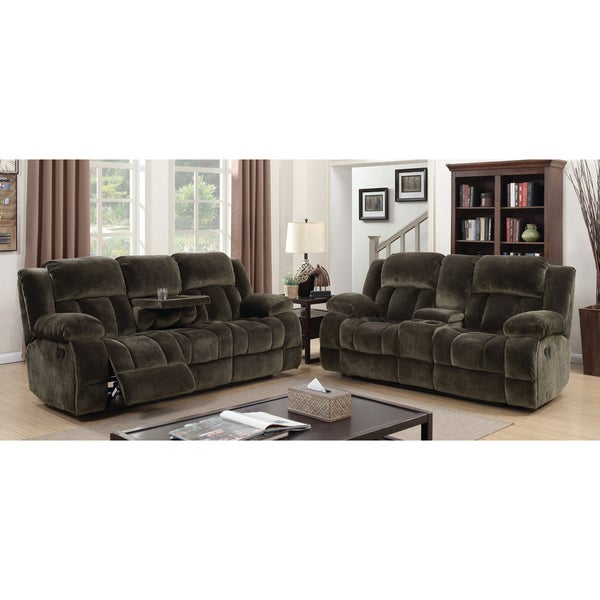 Furniture of America Ric Traditional Brown 2-piece Reclining Sofa Set