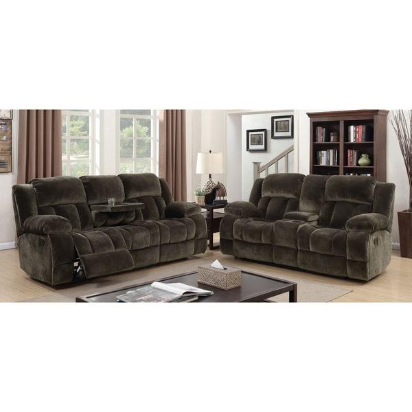 Furniture Of America Malin Traditional 3 Piece Brown Champion Fabric  Reclining Sofa Set