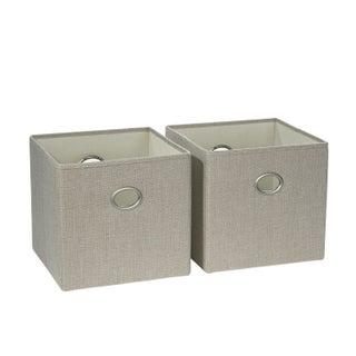 RiverRidge 2 Pc Folding Storage Bin Set with Metal Ring Handles