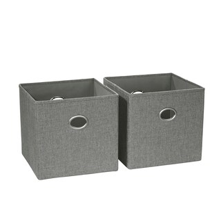 RiverRidge 2 Pc Folding Storage Bin Set with Metal Ring Handles