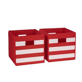 2 Piece Folding Storage Bins with White Stripes