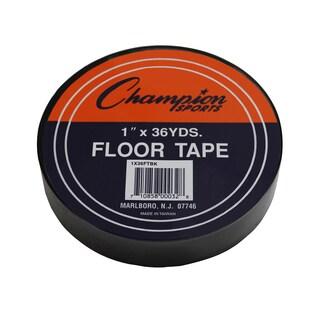 "Champion Sports Floor Tape, 1"" x 36 yd, Black, Bundle of 6"