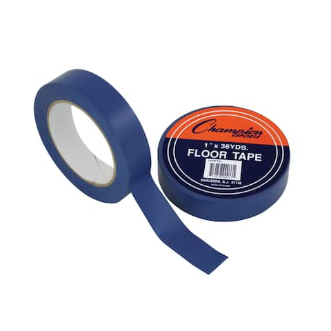 "Champion Sports Floor Tape, 1"" x 36 yd, Blue, Bundle of 6"