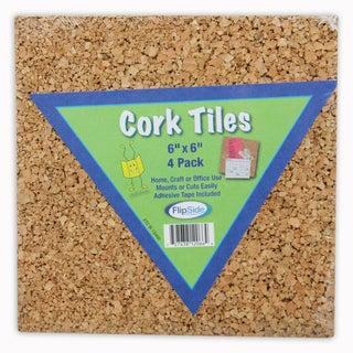 """Cork Tiles, 6"""" x 6"""", 4/pk, Bundle of 6"""