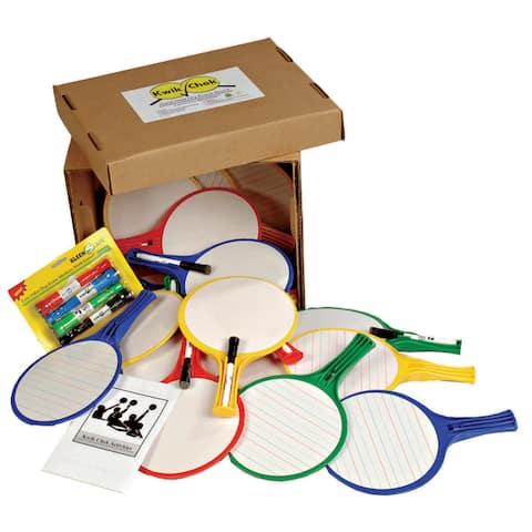 KleenSlate® Hand Held Dry Erase Round Paddle Classroom Kit, 24/pkg