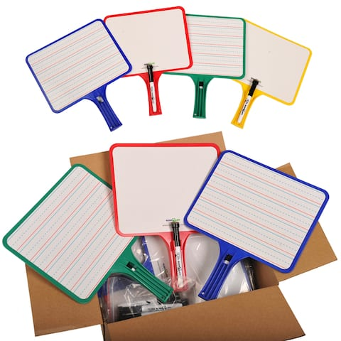 KleenSlate® Dry Erase Paddles, Rectangular, Classroom Set of 24