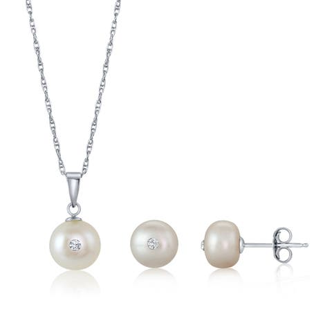 Pearlyta Birthstone Collection - Set of Button Pearl Pendant Necklace and Earring Stud with Colored Swarovski Center