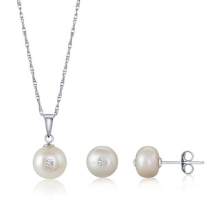 Pearlyta Birthstone Collection - Set of Button Pearl Pendant Necklace and Earring Stud with Colored Swarovski Center (More options available)