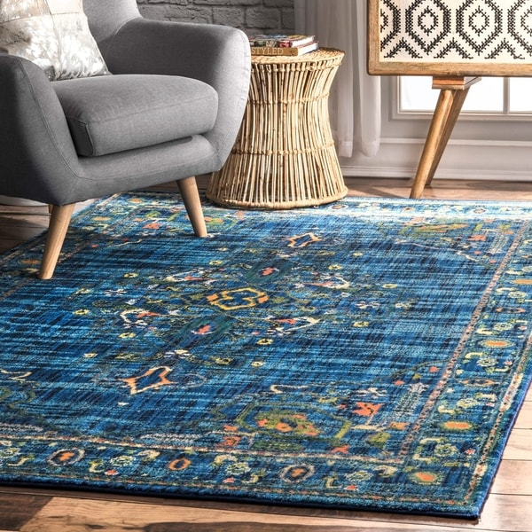 nuLOOM Traditional Vibrant Tribal Medallion Floral Border Area Rug