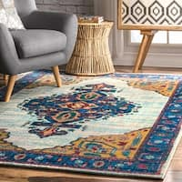 nuLoom Traditional Vibrant Tribal Medallion Floral Border Light Blue Rug - 7'10 x 11'2