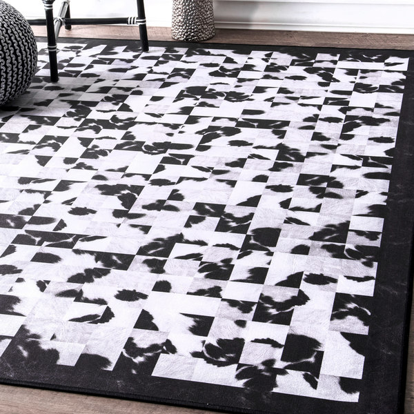 Nuloom Black And White Rug: Shop NuLoom Contempory Abstract Tiles Border Black And