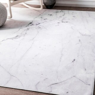 nuLOOM Contempory Abstract Marble Imitation Off-White Rug (5' x 7'5)