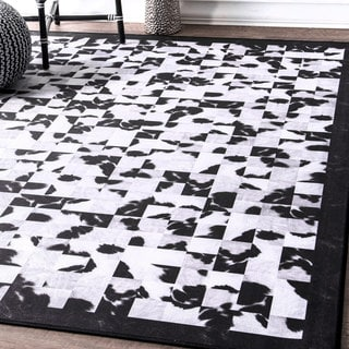 nuLoom Contempory Black/White Abstract Tiles Border Rug (6' x 9')
