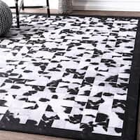 nuLoom Contempory Black/White Abstract Tiles Border Rug - 6' x 9'