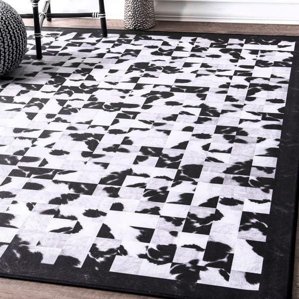 Shop Nuloom Black White Contemporary Abstract Tiles Border
