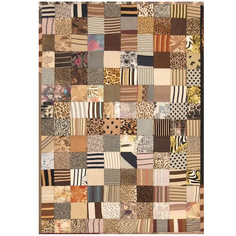 Handmade One-of-a-Kind Memory Foam Cotton Patchwork Rug (India) - 5'4 x 7'6