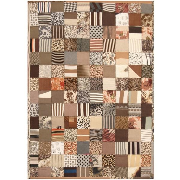 Handmade Memory Foam Cotton Patchwork Rug (India) - 5'4 x 7'6