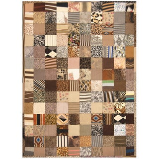 Herat Oriental Indo Hand-stitched Memory Foam Cotton Patchwork Rug (5'4 x 7'6)
