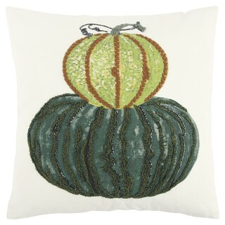 Rizzy Home 20 x 20 inch Fall Harvest Ivory/Multi-colored Pumpkins Decorative Throw Pillow