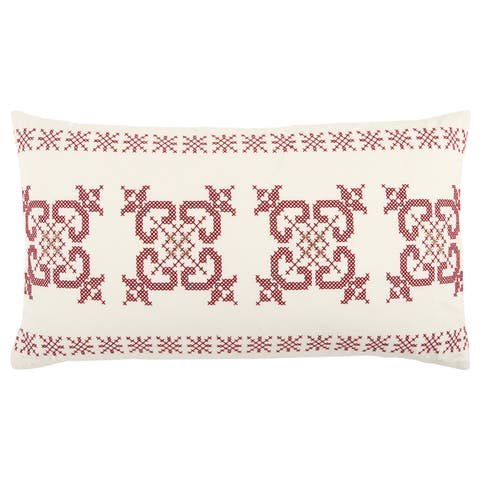 Rizzy Home 14 x 26 inch Christmas Ivory/Red Geometric Decorative Throw Pillow