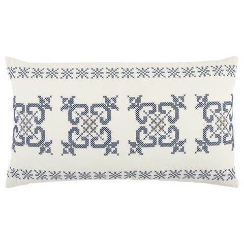 Rizzy Home 14 x 26 inch Christmas Ivory/Indigo Geometric Decorative Throw Pillow