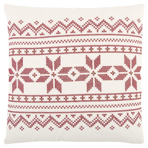 Rizzy Home 20 x 20 inch Christmas Ivory/Red Geometric Decorative Throw Pillow