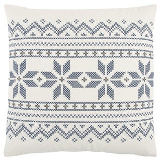 Rizzy Home 20 x 20 inch Christmas Ivory/Indigo Geometric Decorative Throw Pillow