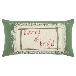Rizzy Home 11 x 21 inch Christmas Green Merry & Bright Decorative Throw Pillow