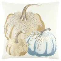 Rizzy Home 20 x 20 inch Fall Harvest Ivory/Blue Pumpkins Decorative Throw Pillow
