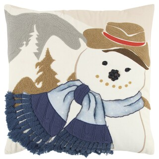 Rizzy Home 20 x 20 inch Christmas Ivory/Multi-colored Snowman Decorative Throw Pillow