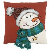 Rizzy Home 20 x 20 inch  Christmas  Red/Multi-colored Snowman Decorative Throw Pillow