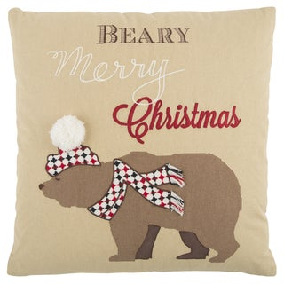 Rizzy Home 20 x 20  inch  Christmas  Beige/Red Snow Bear Decorative Throw Pillow