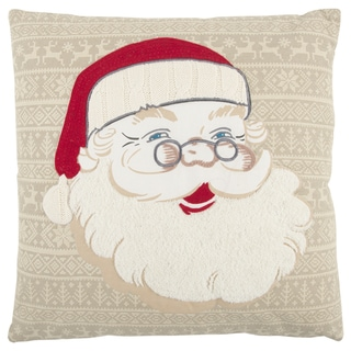 Rizzy Home 20 x 20 inch Christmas Beige/Red Santa Clause Decorative Throw Pillow