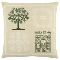 Rizzy Home 20 x 20  inch Christmas Beige/Green Tree Decorative Throw Pillow