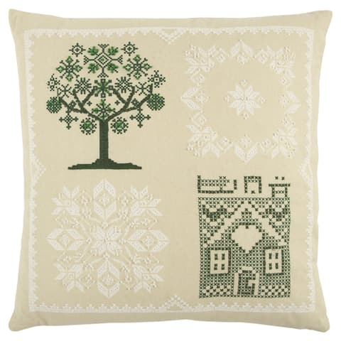 Rizzy Home 20 x 20 inch Green Tree Decorative Throw Pillow