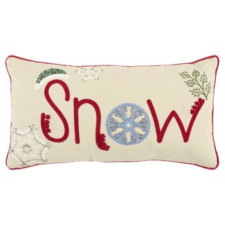 Rizzy Home 11 x 21 inch Christmas Beige/Red Snow Decorative Throw Pillow
