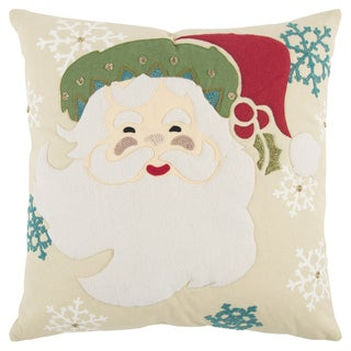 Rizzy Home 20 x 20 inch Christmas Beige/Multi-colored Santa Clause Decorative Throw Pillow