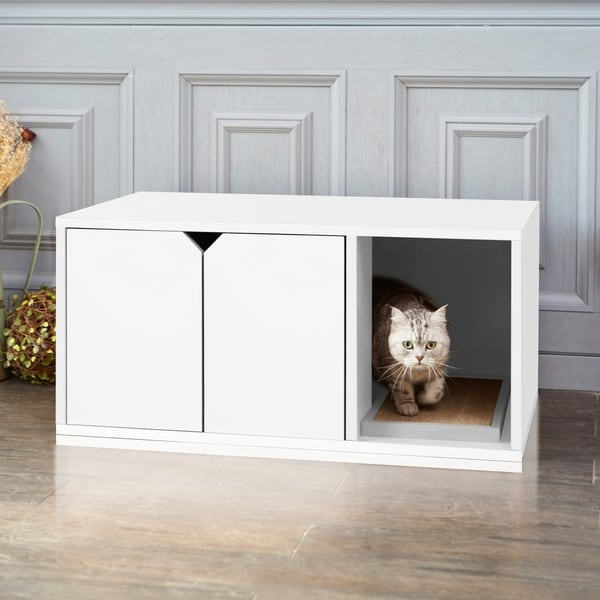 Eco Friendly Modern Cat Litter Box Furniture White Lifetime Guarantee