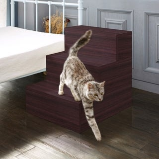 Eco Friendly 3 Step Pet Stairs, Espresso LIFETIME GUARANTEE