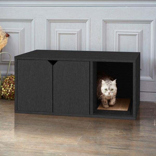 Way Basics Black Eco-friendly Cat Litter Box Enclosure