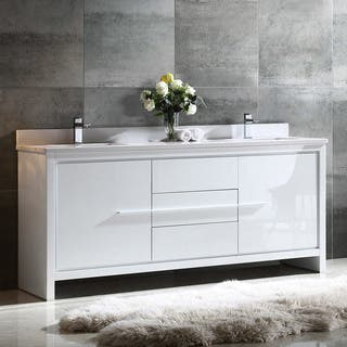 fresca allier 72 inch white modern double sink bathroom cabinet with top and sinks - Modern White Bathroom Cabinets