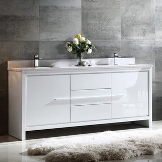 Fresca Allier 72 Inch White Modern Double Sink Bathroom Cabinet With Top  And Sinks