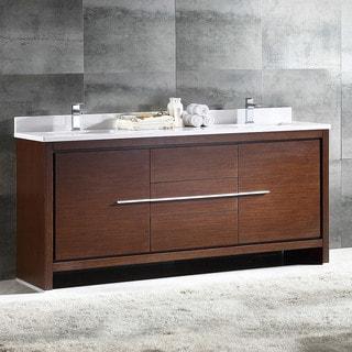 Fresca Allier Wenge Brown Modern 72-inch Double Sink Bathroom Cabinet