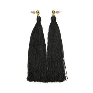 Eternally Haute Black Tassel Drop Earrings